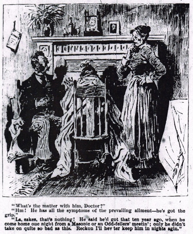 An illustration of a man wrapped in a blanket seated in front of a fire while a doctor and woman converse over his head.