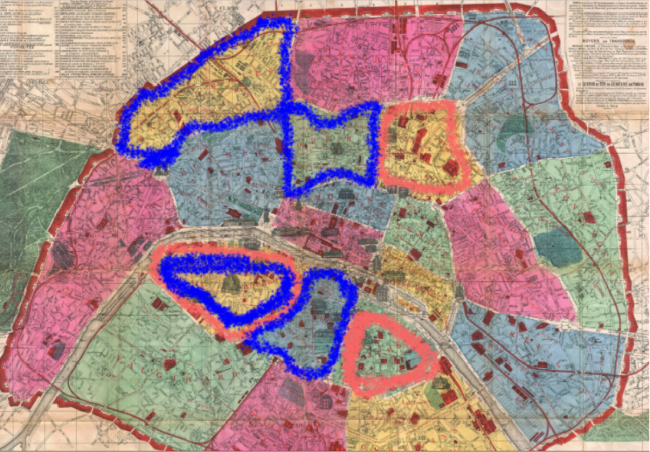 A paris map shows three areas of high infection rate and four areas where emergency hospitals were established. These overlap ony in one place.