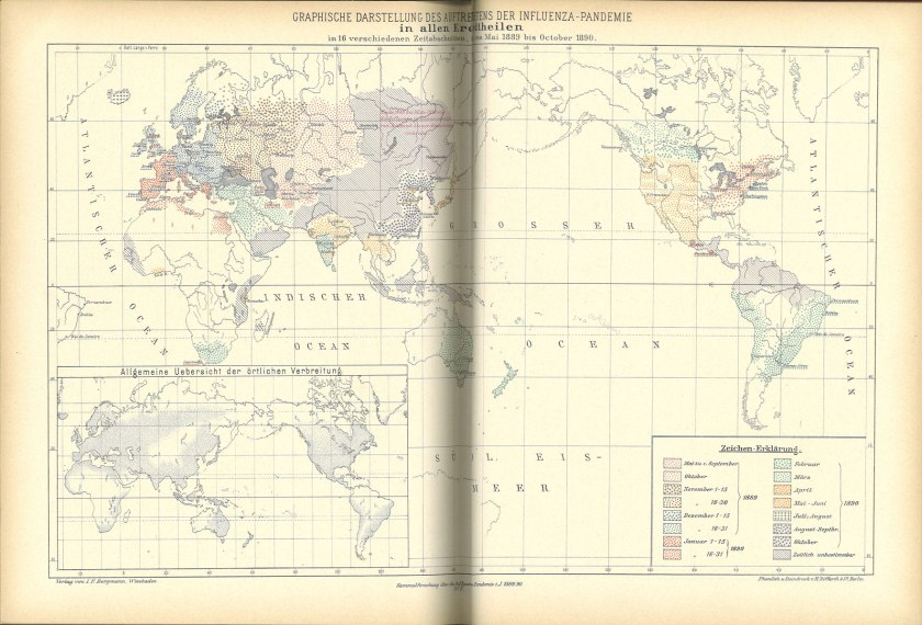 The map uses a series of colors and patterns keyed to date ranges to illustrate the spread from Russia generally west around the globe.