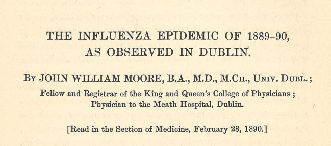 Detail of the title page of Dr. Moore's Journal article: The Influenza Epidemic of 1889-90, as observed in Dublin.