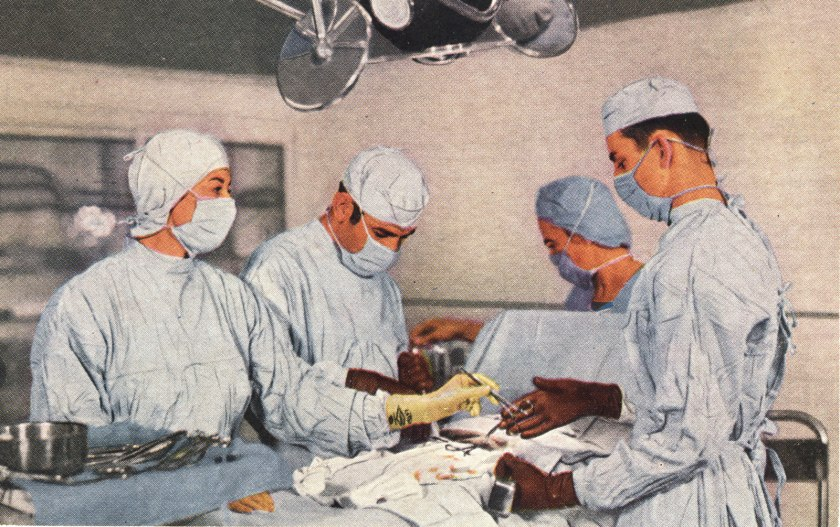 A color halftone image of doctors and nurses in an operating room operating on a patient.