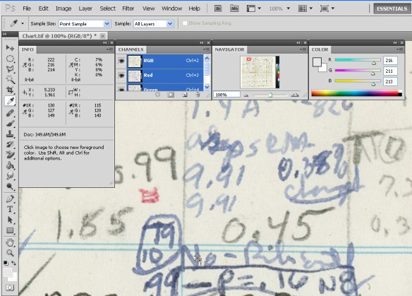 Screen shot showing photoshop tools reading color values on a digitized document.