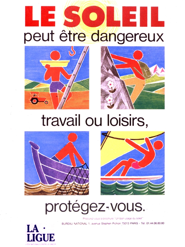 French Poster warning of danger from sun exposure.
