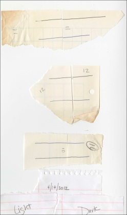 Pairs of slips of paper used to test ballpoint pen ink under exposure to different conditions.