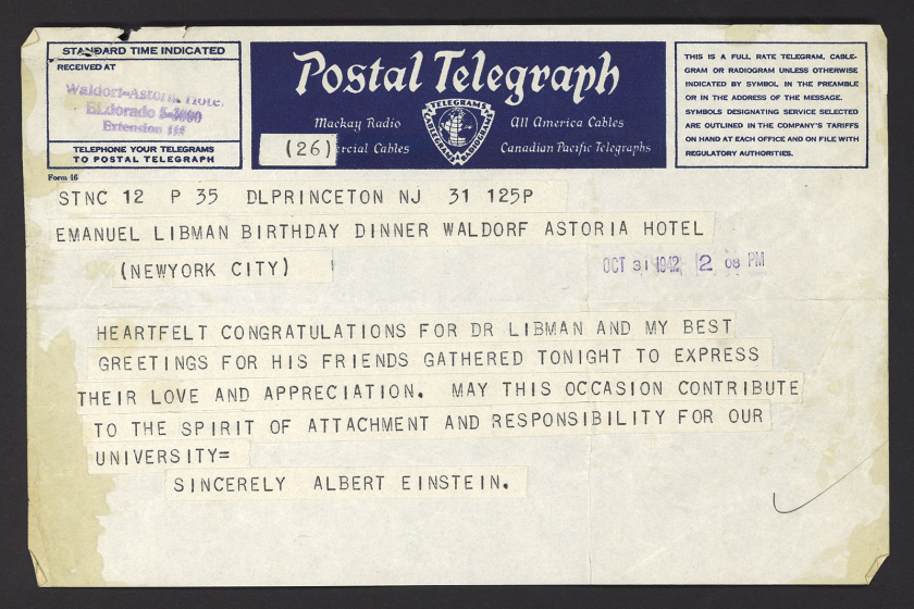 A telegram from Einstein to the Emanuel Libman Birthday Dinner at the Waldorf Astoria in NYC Oct. 31, 1942.