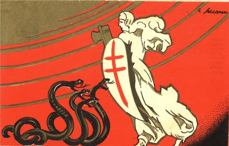 A woman in white carrying a shield and axe (fasces), in front of four hissing black snakes