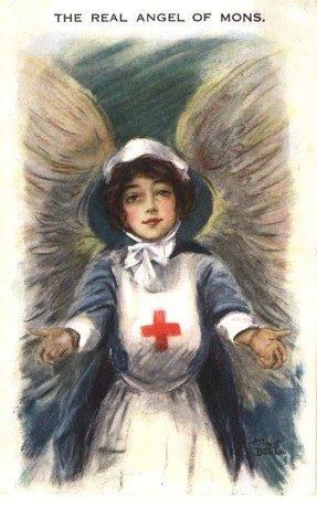 A white female Red Cross nurse with wings gazing at the viewer with arms open.