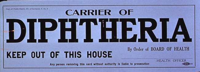 A Board of Health quarantine card warning that the premises are contaminated by diphtheria