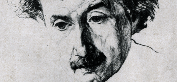 A halftone reproduction of an etching of Einstein.