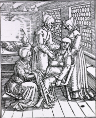 Book illustration of three midwives attending to a pregnant woman