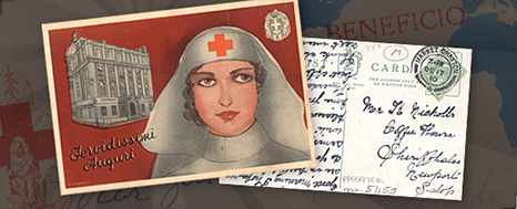 Compoite image of a postcard featuring a drawing of a Red Cross nurse and the hadwritten back of a postcard set over a map.