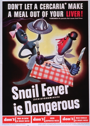 Two cartoon-character parasites, one dressed as a waitress and carrying a covered platter and the other sitting at a table