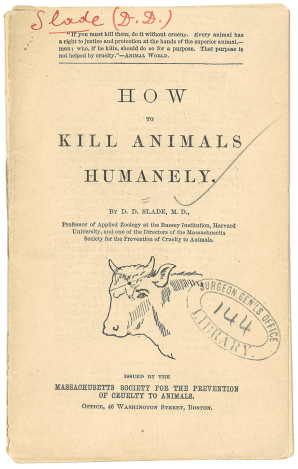 Title page of the pamphlet How to Kill Animals Humanely, including an illustration of a cows head and a Surgeon Generals Office Library stamp.