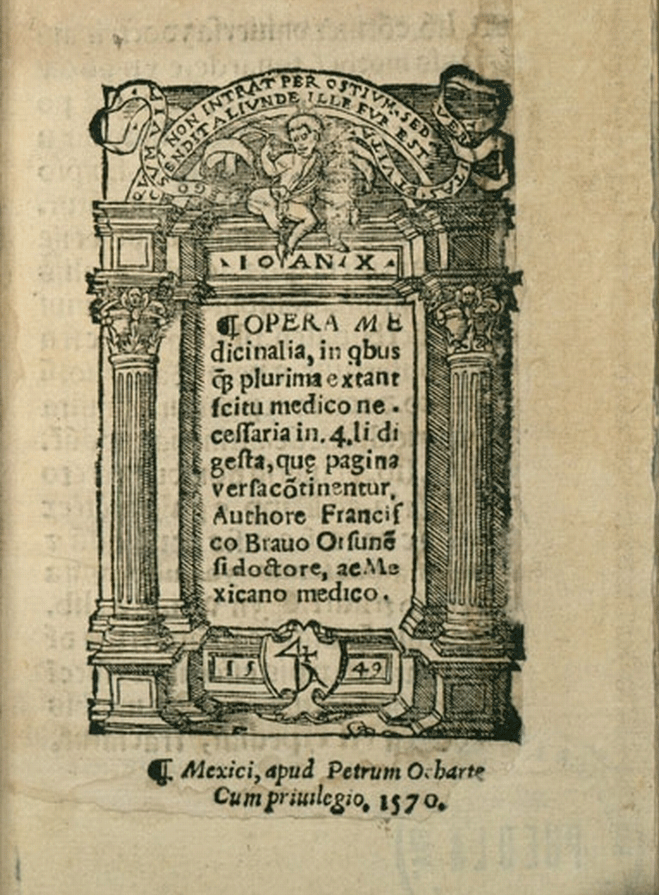 Decorative title page with Latin text presented with classical architectural features, dated 1549.
