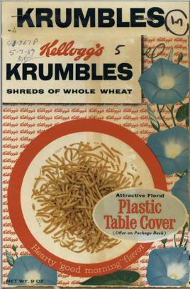Promotional image for Kellog's Krumbles shreds of wheat.