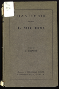 The cover of Handbook for the Limbless, edited by G. Howson and Published by the Disabled Society.