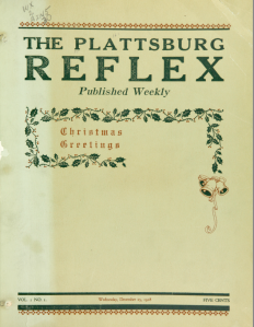 Cover of the Christmas 1918 edition of the Plattsburg Reflex decorated with holly and bells and the message Christmas Greetings.
