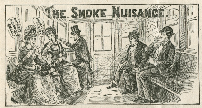Passengers bothered by smoking in a trolley car.