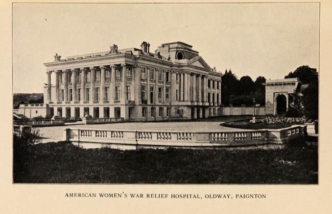 American Women's War Relief Hospital, Oldway, Paignton, a large columned building with a large paved courtyard.
