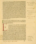 A page of printed latin text with hand-written initial letter and contemporary annotations.