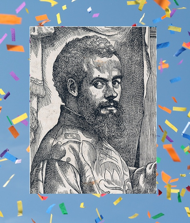 Woodcut vesalius portrait with confetti