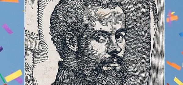 Woodcut vesalius portrait with confetti