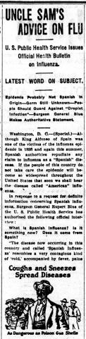 "Newspaper column with headline ""Uncle Sam's Advice on Flu."""