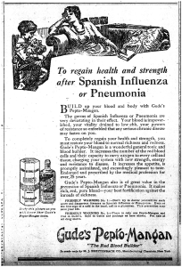 """Ad reading: """"To Regain health and strength after Spanish Influenza or Pneumonia...Gude's Pepto-Mangan"""""""