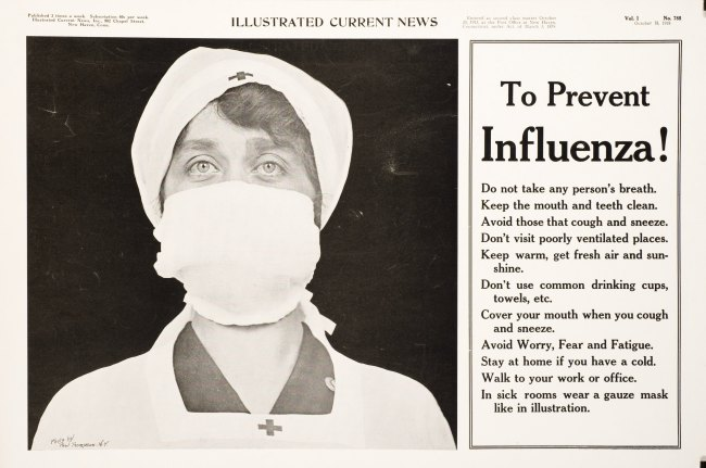"""A photograph of a nurse wearing a surgical mask and a list of tips """"to prevent influenza"""""""