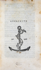 Page featuring the word Lucretius in the center with an anchor and dolphin printer's device for Aldus Manutius below.