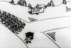 Film still: Cartoon animation shows General Germ at the head of an army germ devils marching through the streets pf the body, invading different parts. A street sign reads: 'To the eyes.'