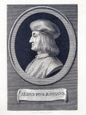 Engraved profile portrait of Aldus Manutius