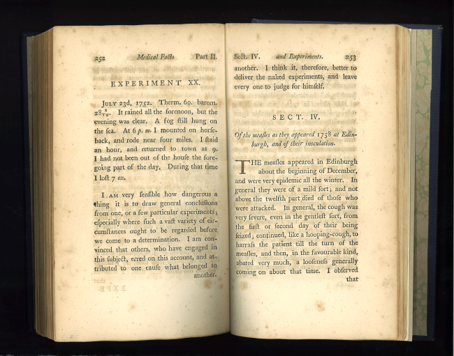 """Book open to section IV """"Of the measles as they appeared in 1738 at Edinburg, and of thier innoculation."""