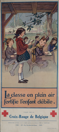 A poster of a children at lessons in a roofed shelter without walls.