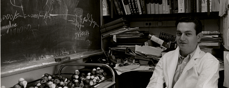 Nirenberg, ina lab coat, sitsin his office by a blackboard and a cart of molecule models.