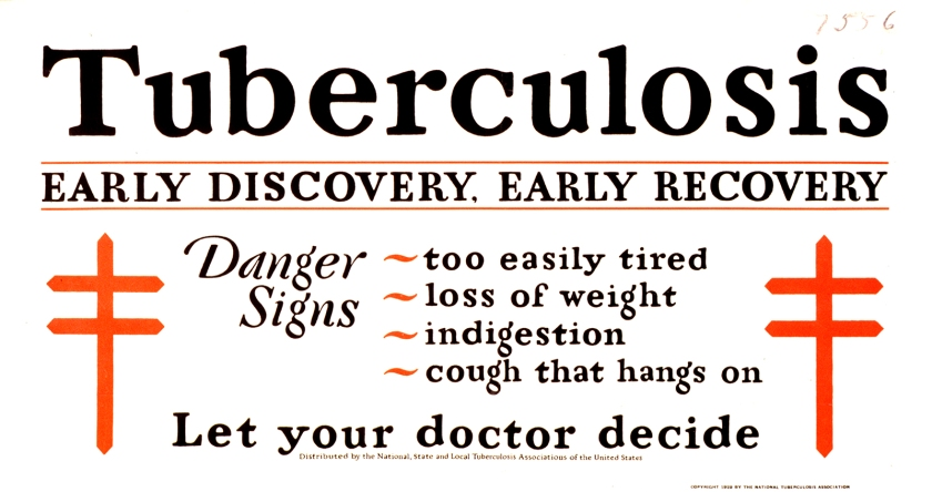 Tuberculosis notice listing danger signs: too easily tired, loss of weight, indigestion, cough that hangs on.