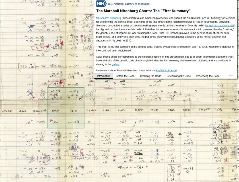 A digital image of the first summary of the genetic code chart overlaid with curatorial content.