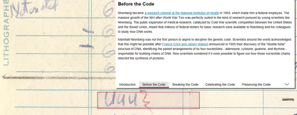 A screenshot from the turning the pages interactive shown highlighting the UUU cell on the chart.