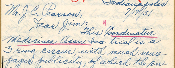 Note to Mr. J. C. Pearson, from Indianapolis on July 17, 1951.