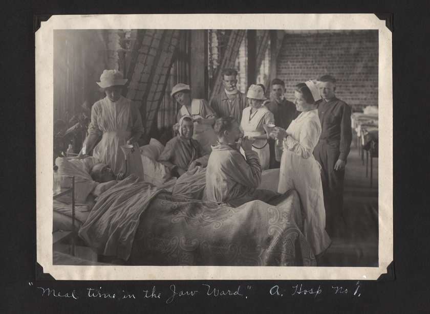 Soldiers being fed by nurses