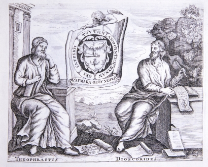 An engraving of Theophrastus and Dioscorides seated opposite each other with scrolls showing drawings of plants.