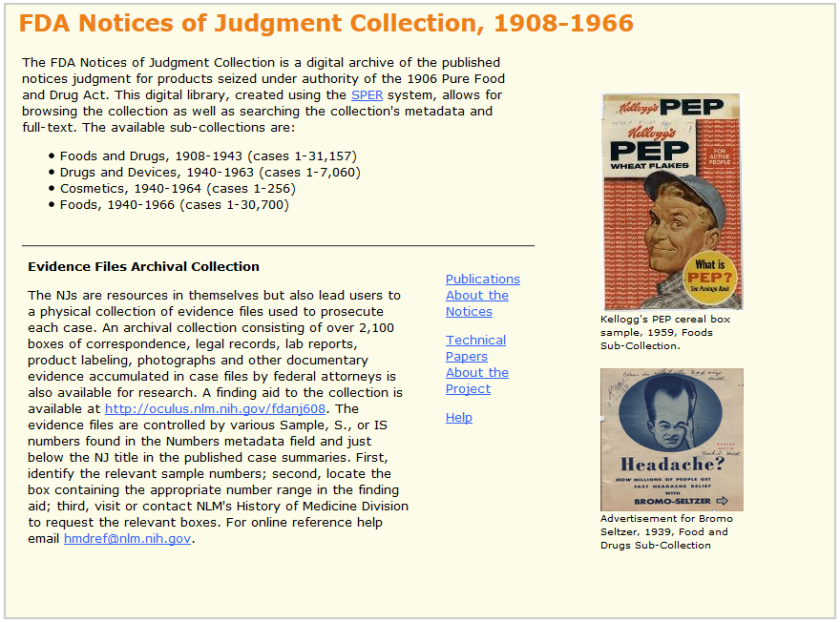 Homepage for the FDA Notices of Judgement Collection, 1908-1966 website.