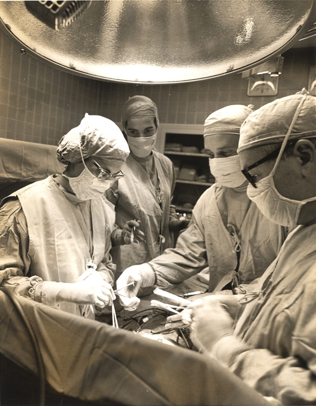 Dr. Braunwald performs heart surgery