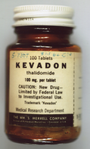 "A glass bottle labeled ""100 Tablets Kevadon thalidomide"" from the WM. S. Merrell Company."