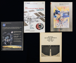 A group of four pamphlets related to medicine and spaceflight.
