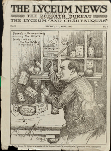 Cover of an illustrated newspaper featuring a cartoon of a man in a suit waving a stick at animated boxes of food with alarmed faces.