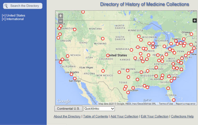 A screenshot of the interactive map feature of the Directory.