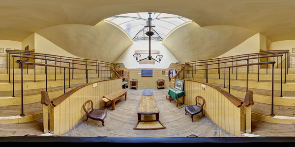 A panoramic view of the inside of the museum.