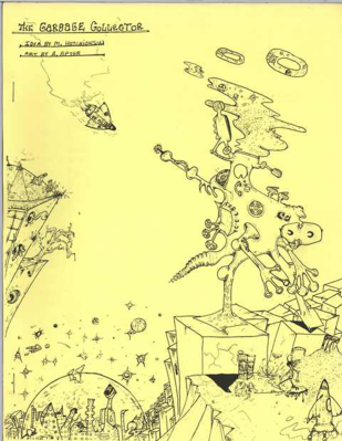 A fantacy ink drawing depicting a space theme with aliens and a spaceship.