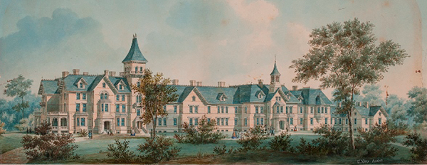 An architectural drawing of a very large, sprawling, high windowed, four story building with two steeples.